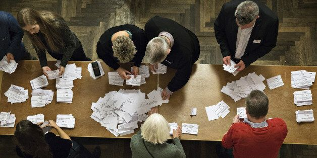 Counting the votes at Aarhus City Hall, in Corpehagen, Thursday, Dec. 3, 2015. Danes voted Thursday in...