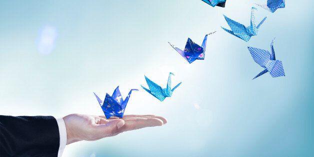 origami, cranes, blue, hand, sleeve, paper craft, studio background, floral print, checked print, dark...