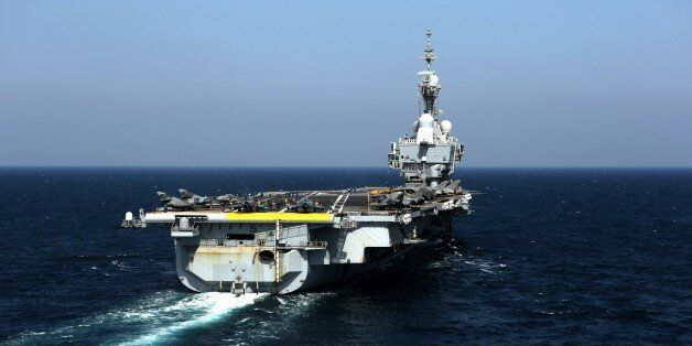 View of the French navy aircraft carrier Charles de Gaulle operating in the Gulf on February 26, 2015....