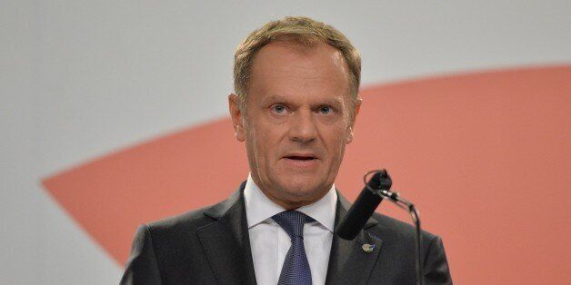 VALLETTA, MALTA - NOVEMBER 2015: President of the European Council Donald Tusk delivers a speech during...