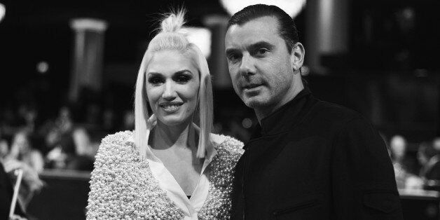 BEVERLY HILLS, CA - DECEMBER 18:  (EDITORS NOTE: Image shot on black and white. Color version not available.)  Singer Gwen Stefani and Gavin Rossdale attend the PEOPLE Magazine Awards at The Beverly Hilton Hotel on December 18, 2014 in Beverly Hills, California.  (Photo by Charley Gallay/PMA2014/Getty Images for dcp)