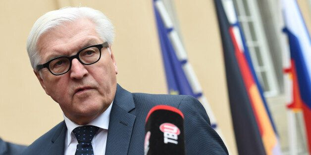 German Foreign Minister Frank-Walter Steinmeier speaks to journalists at the foreign ministry's guest...