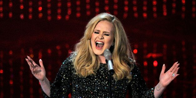 FILE - In this Feb. 24, 2013 file photo, Adele performs during the Oscars at the Dolby Theatre in Los...