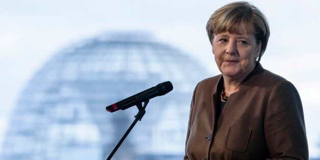 BERLIN, GERMANY - NOVEMBER 18: German Chancellor Angela Merkel gives a statement to the media at the...
