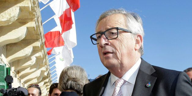 European Commission President Jean Claude Juncker arrives on the occasion of a summit on migration in...