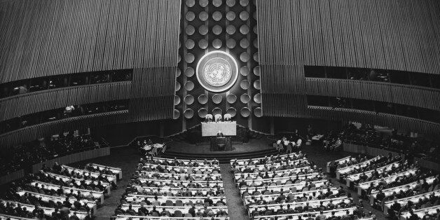 High angle view of the General Assembly, United Nations Building, New York City, New York State,