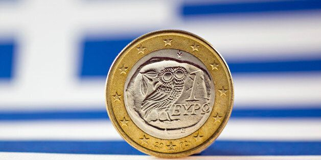 Greek 1 Euro coin, Flag of