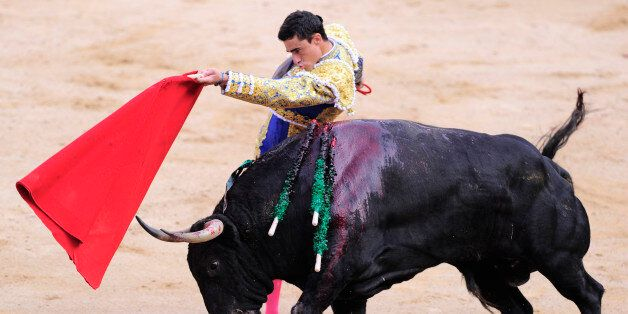 Spanish matador Paco Urena performs a pass to a Fuente Ymbro's bull during the first corrida of the San...