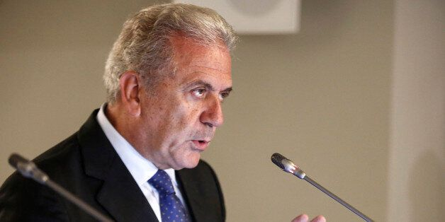 European Commissioner for Migration and Home Affairs Dimitris Avramopoulos addresses journalists during...