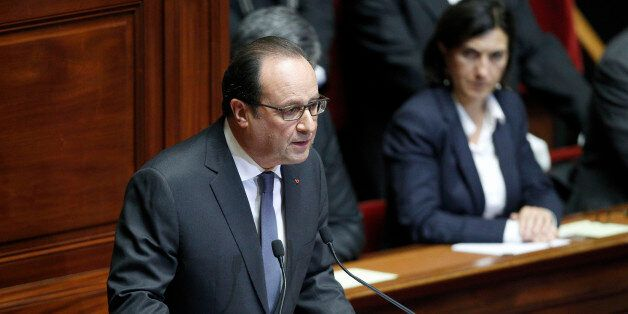 VERSAILLES, FRANCE - NOVEMBER 16: French President Francois Hollande delivers a speech during an exceptional...
