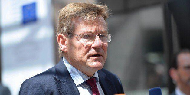 BRUSSELS, BELGIUM - JUNE 27 : Belgium's Finance Minister Johan Van Overtveldt speaks to media before...