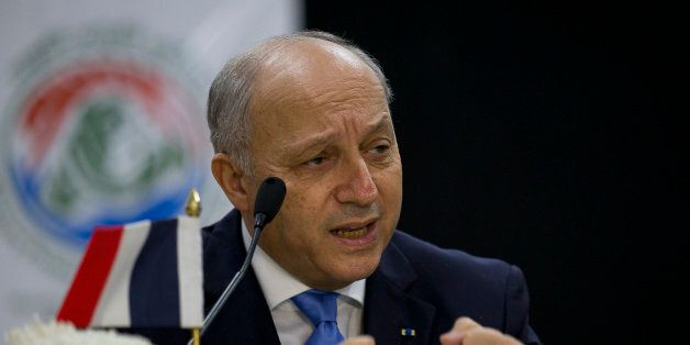 French Foreign Minister Laurent Fabius speaks at a press conference in New Delhi, India, Friday, Nov....