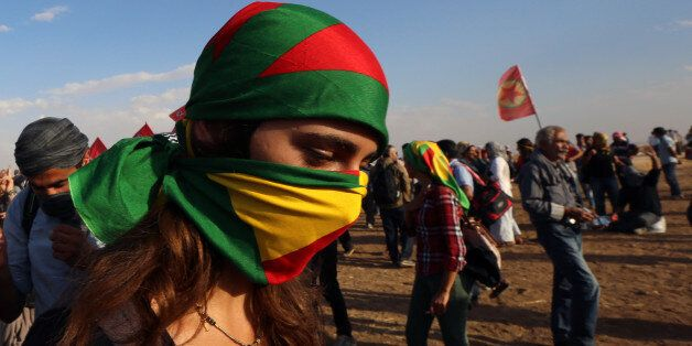 About 1000 Kurdish activists, from Istanbul, who arrived in response to a call for mass mobilization...