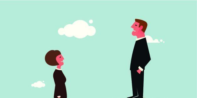 Vector illustration of a man and a woman standing on