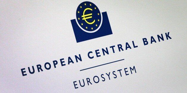 The logo of the European Central Bank (ECB) is seen at press conference following the meeting of the...