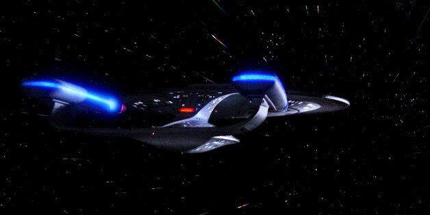 LOS ANGELES - APRIL 28: The USS Enterprise in the STAR TREK: THE NEXT GENERATION episode, 'Hollow Pursuits.'...