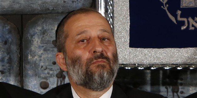 (FILES) A file picture taken on May 19, 2015, shows Israeli Minister of Economy Aryeh Deri looking on...