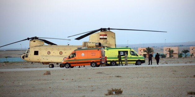 SUEZ, EGYPT - OCTOBER 31: Egyptian officials receives the corpses of 34 passengers, found at crash site...
