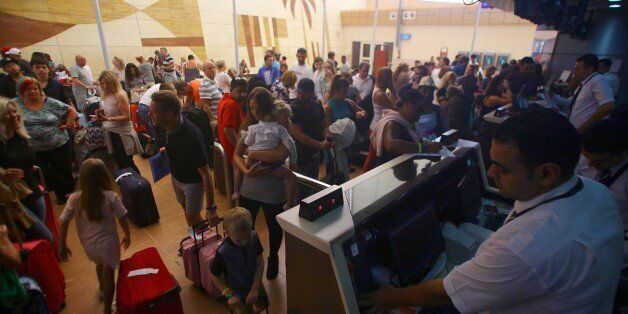 SINAI, EGYPT - NOVEMBER 06: Evacuation of British tourists who were stranded in Sharm el-Sheikh due to...