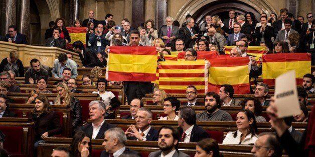BARCELONA, SPAIN - NOVEMBER 09: Partido Popular de Catalunya (Popular Party of Catalonia) members of...
