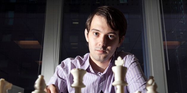 Martin Shkreli, chief investment officer of MSMB Capital Management, sits for a photograph behind a chess...