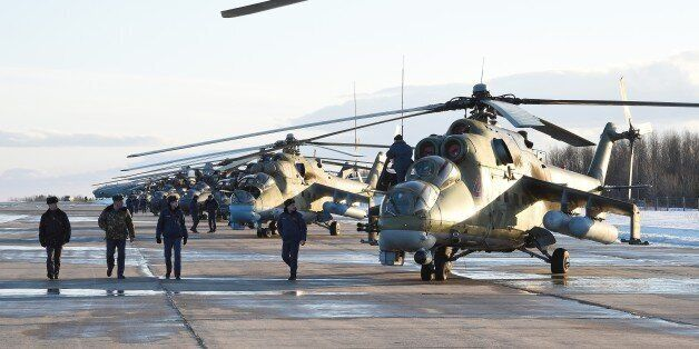 MURMANSK, RUSSIA - MARCH 16: Military helicopters during military training on Northern navy on March...
