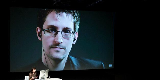 IMAGE DISTRIBUTED FOR THE NEW YORKER - Edward Snowden talks with Jane Mayer via satellite at the 15th...