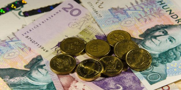 Swedish 10 SEK coins at partly unfocused