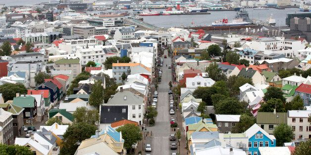 Multicolored rooftops and the harbour are seen on the city skyline in Reykjavik, Iceland, on Friday,...