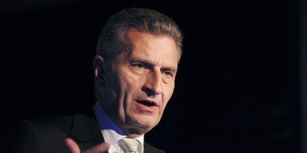 European Commissioner for Digital Economy and Society Gunther Oettinger addresses the opening of French...