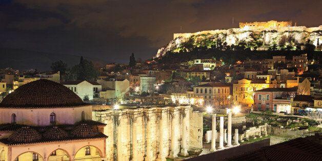 Greece, Athens, view of Acropolis from Monastiraki at dusk, UNESCO World