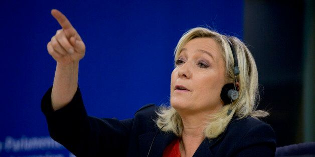 French far right party, Front national, President Marine Le Pen speaks during a media conference at the...