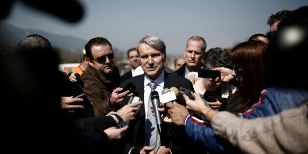 Horst Reichenbach, head of the European Commission task force for Greece, speaks to the media outside...