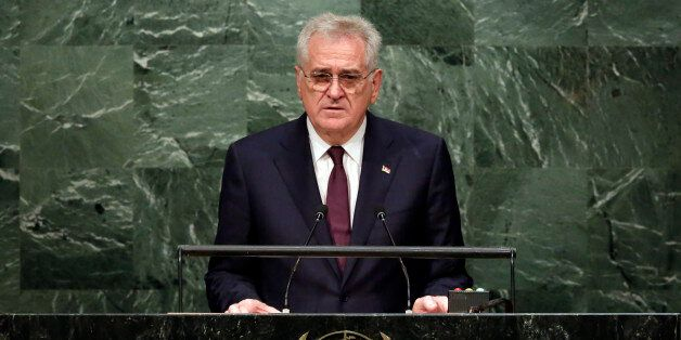 Serbia's President Tomislav Nikolic addresses the 70th session of the United Nations General Assembly,...