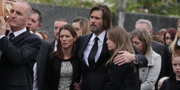TIPPERARY, IRELAND - OCTOBER 10: Jim Carrey attends The Funeral of Cathriona White on October 10, 2015...