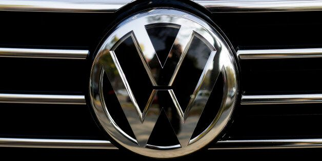 The VW sign of Germany's car company Volkswagen at the radiator grill of a VW car photographed in, Berlin,...