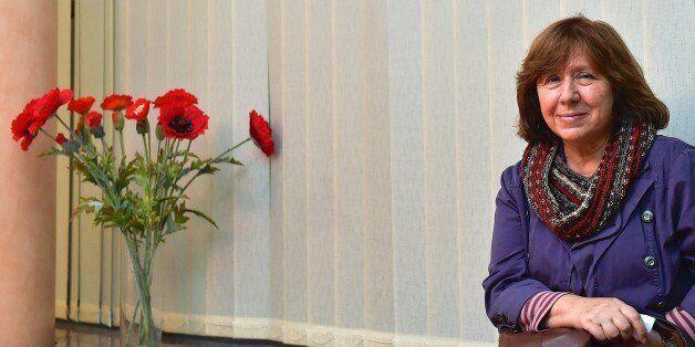 Belarus writer Svetlana Alexievitch poses as she visits a Ukrainian embasy in Minsk on November 14, 2014....