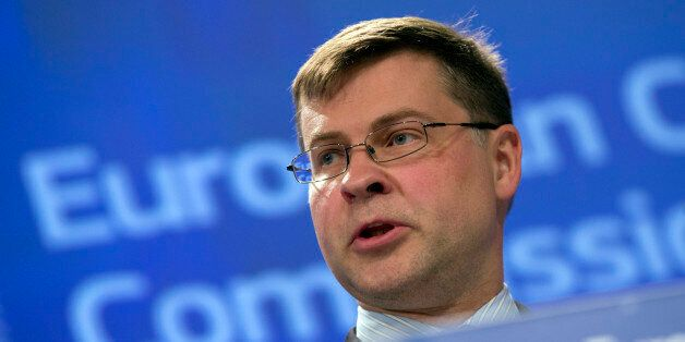 European Commission Vice-President Valdis Dombrovskis speaks during a media conference at EU headquarters...