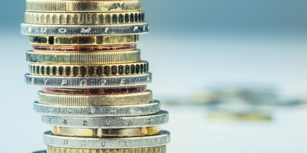 Euro coins. Euro money. Euro currency.Coins stacked on each other in different