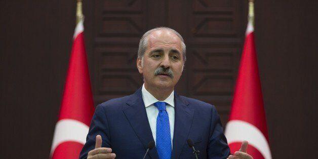 ANKARA, TURKEY - SEPTEMBER 1 : Turkish Deputy Prime Minister Numan Kurtulmus speaks to media after the...