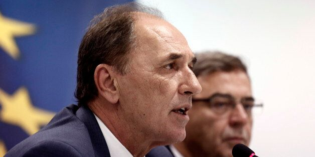 George Stathakis, Greece's economy minister, speaks during a news conference in Athens, Greece, on Wednesday,...