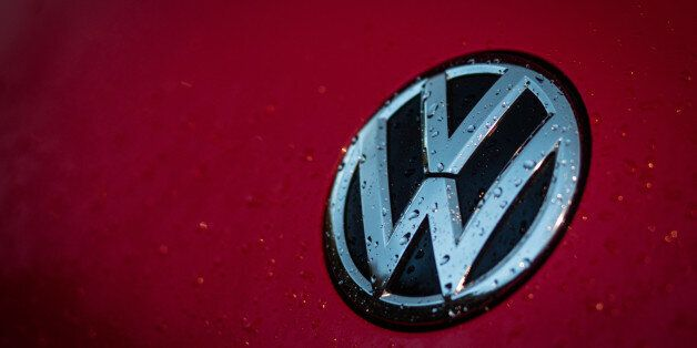 BATH, ENGLAND - OCTOBER 08: The Volkswagen logo is seen at a car dealership on October 8, 2015 in Bath,...