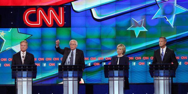 LAS VEGAS, NV - OCTOBER 13: (L-R) Democratic presidential candidates Jim Webb, Sen. Bernie Sanders (I-VT),...