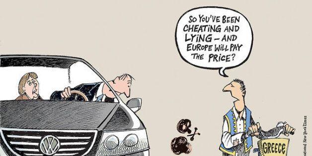 Το σκίτσο με την Μέρκελ, τον Έλληνα και τo αυτοκίνητο VW που κάνει τον γύρο του