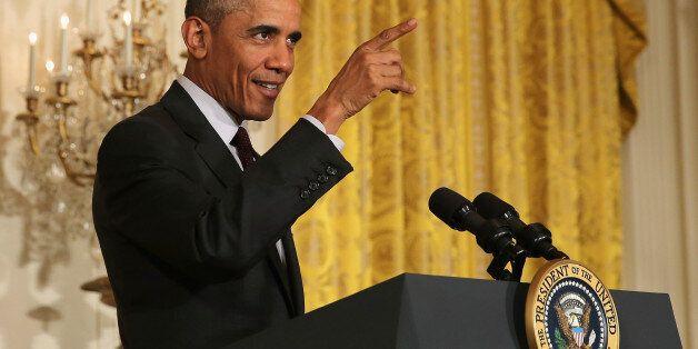 WASHINGTON, DC - JULY 22: U.S. President Barack Obama delivers remarks at a reception celebrating the...