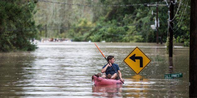 COLUMBIA, SC - OCTOBER 4: A man kayaks on Tall Pines Circle October 4, 2015 in Columbia, South Carolina....