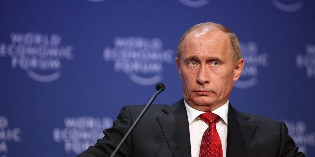 DAVOS-KLOSTERS/SWITZERLAND, 28JAN09 - Vladimir Putin, Prime Minister of the Russian Federation captured...