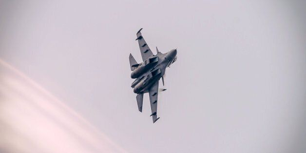 A Royal Malaysian Air Force Sukhoi Su-30MKM fighter during the 2015 Langkawi International Maritime and...