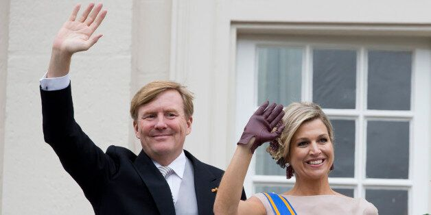THE HAGUE, NETHERLANDS - SEPTEMBER 15: King Willem-Alexander and Queen Maxima of The Netherlands wave...