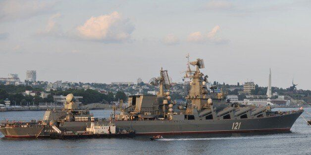 A picture taken on July 31, 2011 shows the Moskva guided missile cruiser participating in a Russian military...